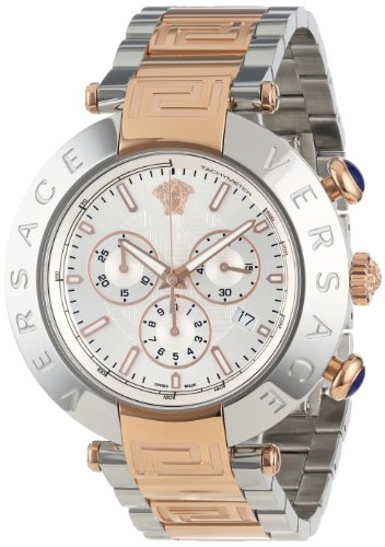 Versace Men's VA8030013 Reve Chrono Round Stainless Steel Rose Gold Ion-Plated Bracelet Date Watch