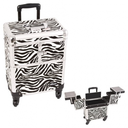 Sunrise White Interchangeable 3-Tiers Accordion Trays Zebra Textured Printing Professional Rolling A