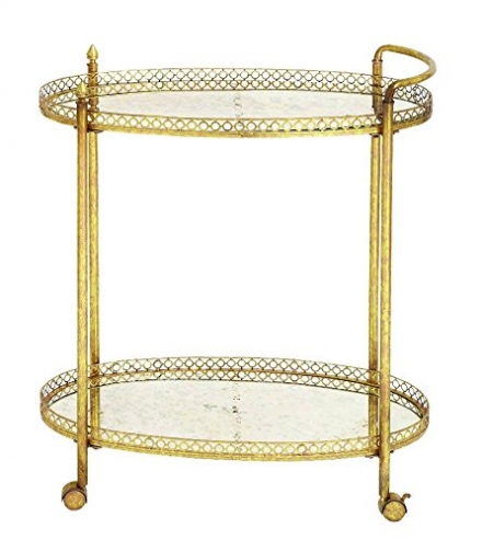 Benzara 93749 Metal Glass Tea Cart in Stylish and Functional Design