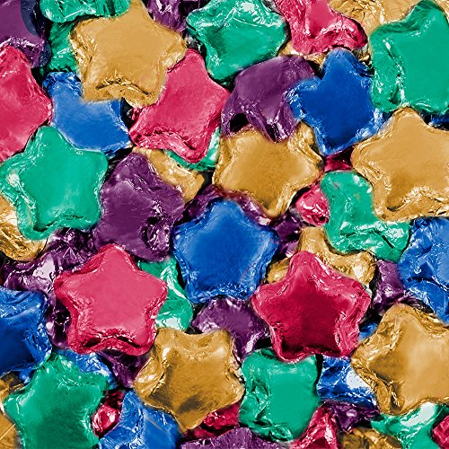 Dark Chocolate Assorted Color Foil Wrapped Stars (10 lb)