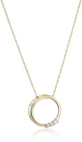 10k Gold Three-Stone Diamond Circle Pendant Necklace (1/10 cttw, I-J Color, I2-I3 Clarity), 18″