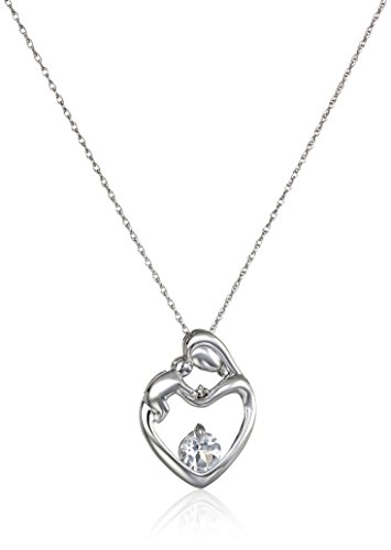 10k White Gold, Gemstone, and Diamond Accent Mother and Child Heart Pendant Necklace, 18″