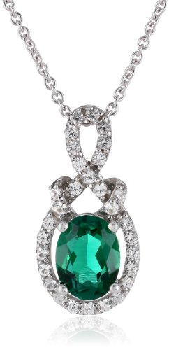 Sterling Silver Oval-Shape Created Emerald and Created White Sapphire Pendant Necklace, 18″