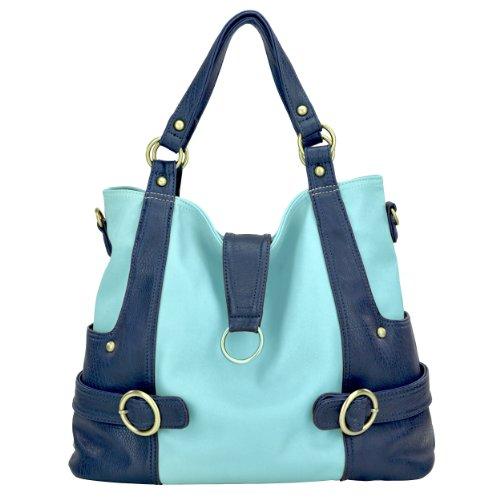 timi & leslie Hannah Pastel 7-Piece Diaper Bag Set, Baby Blue/Navy