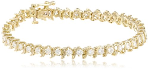 IGI Certified 18k Gold S-Link Diamond Tennis Bracelet (3.0 cttw, H-I Color, SI2-I1 Clarity), 7″