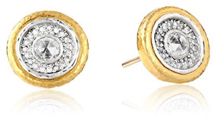 "GURHAN ""Glint"" Yellow Gold and Diamond Button Earrings"