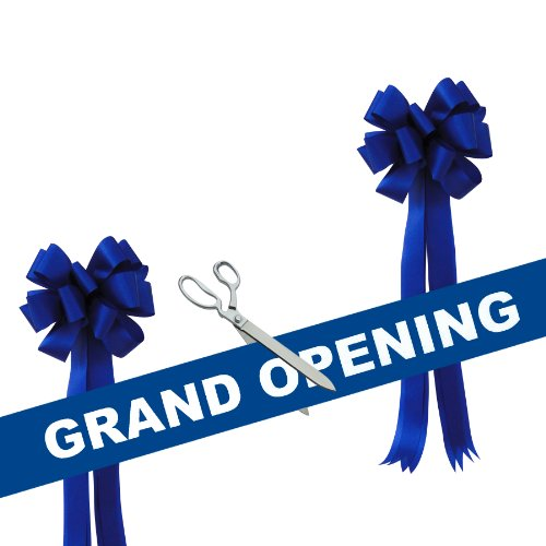 Grand Opening Kit – 15″ Chrome Plated Ceremonial Ribbon Cutting Scissors with 5 Yards of 6″ Blue Gra