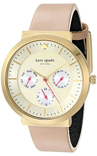 kate spade new york Women's 1YRU0510 Metro Grand Gold-Tone Stainless Steel Watch with Beige Leather