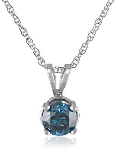 10k White Gold and Blue Diamond Solitaire Pendant Necklace (1/2 cttw), 18″