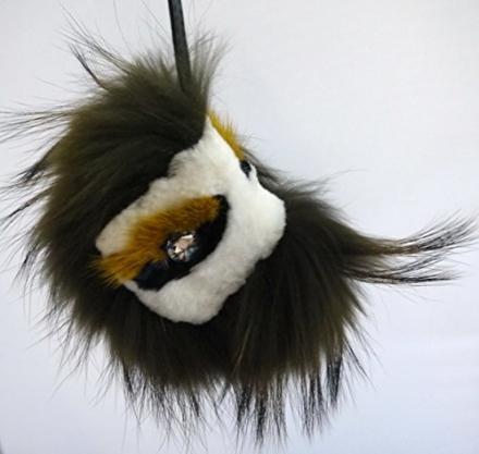 Olive Green Mink Fox Fur Monster Bugs Pom Pom Doll Ball Key Ring/ Keychain /Bag Charm
