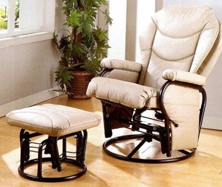 Bone Leatherette Swivel Glider Rocker Ottoman