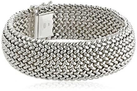 Sterling Silver Italian Rhodium Plated Bombay Mesh Bracelet