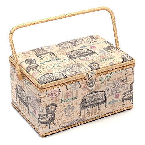 Hobby Gift Vintage Chairs Design Sewing Basket on Cream Extra Large (25.5 x 38 x 22.5cm)