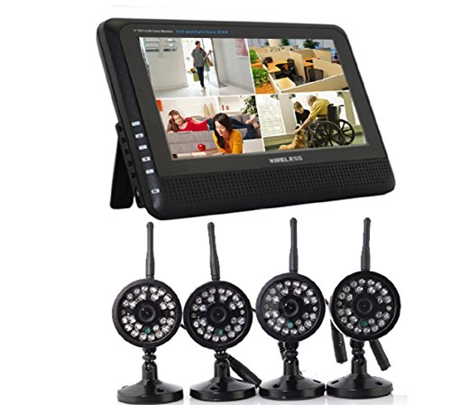 """Wireless Digital Home 4ch DVR Day and Night Vision Infrared Security Camera System with 7"""" LED Moni"""