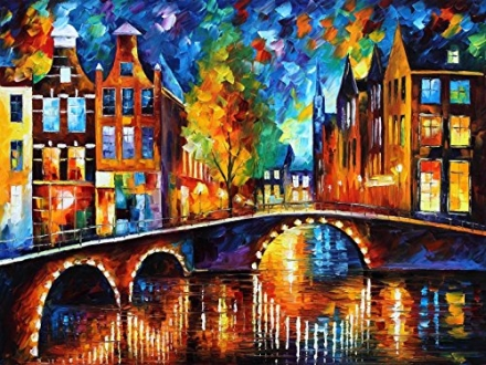 Leonid Afremov The Bridges of Amsterdam Palette Knife Contemporary Fine Art Cityscape Oil Painting o