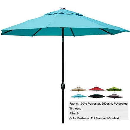 Abba Patio 9 Ft Outdoor Patio Table Aluminum Umbrella with Auto Tilt and Crank, Alu. Pole and 8 Ribs