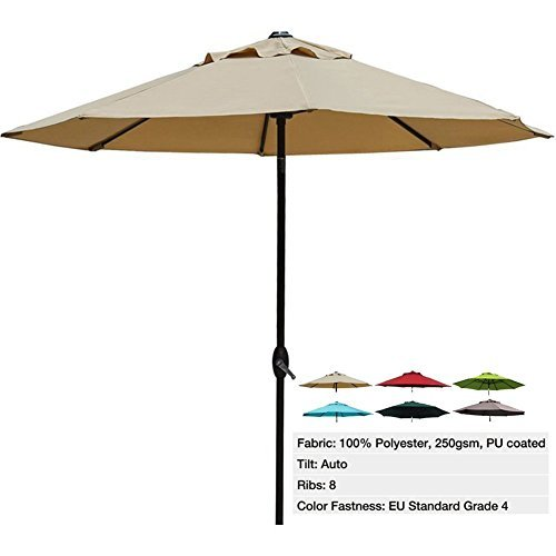 Abba Patio 9 Ft Outdoor Table Aluminum Patio Umbrella with Auto Tilt and Crank, Alu. 8 Ribs,  250 gs