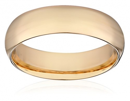 Men's 14k Yellow Gold Comfort-Fit Plain Wedding Band (6 mm)