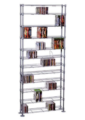 Atlantic 63135237 Maxsteel 864 CD/450 DVD/BluRay/Games 12-Tier Media Rack Silver
