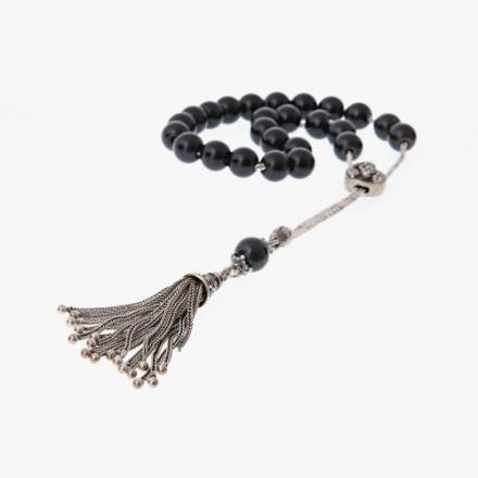 Obsidian Gemstone Handmade Worry Beads (Komboloi) Sterling Silver 925 – Free Shipping WorldWide