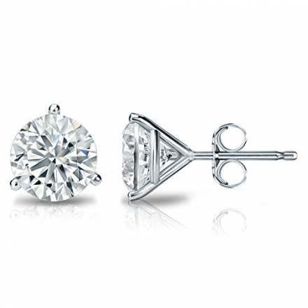 14k Gold 3-Prong Martini Round Diamond Stud Earrings (1/6 – 2 ct, H-I, I2-I3) Push-Backs