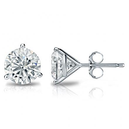 14k Gold 3-Prong Martini Round Diamond Stud Earrings (1/6 – 2 ct, H-I, I2-I3) Push-Backs