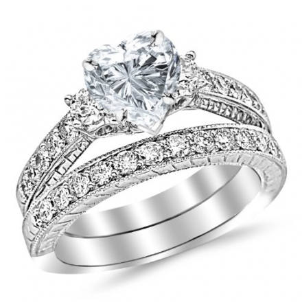 1.77 Carat Classic Channel Set Wedding Set Bridal Band & Diamond Engagement Ring with a 0.74 Carat H