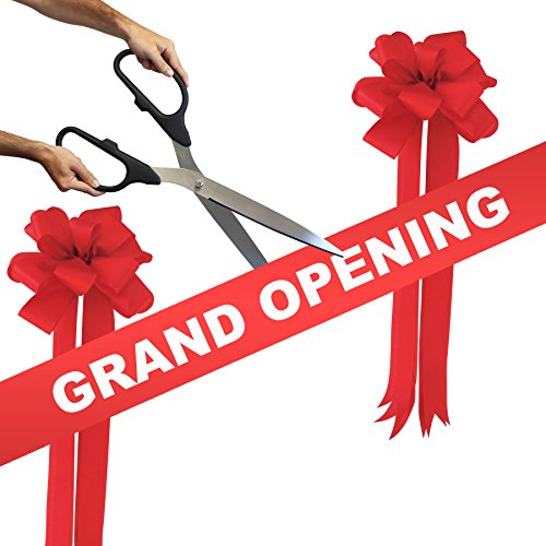 Grand Opening Kit – 25″ Black/Silver Ceremonial Ribbon Cutting Scissors with 5 Yards of 6″ Red Grand