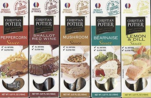 French Gourmet Sauce Bundle of Christian Potier Sauces – 15 Single Serve Packets: Bernaise, Mushroom