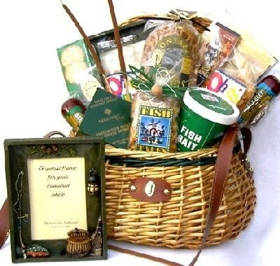 Gift Basket Village Fishing Gift Basket for Fishermen in Deluxe Fishing Creel