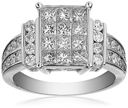 IGI Certified 14k White Gold Engagement Ring with Princess-Cut Diamonds (2cttw, H-I Color, I1-I2 Cla