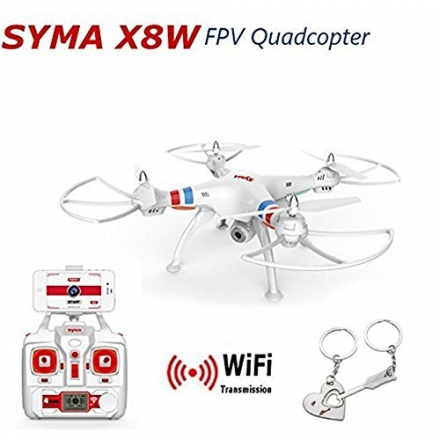 Blueskysea Free Gift Keychain +Syma X8W Explorers WiFi FPV RC Quadcopter with 2MP Camera RTF – White