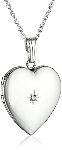 14k White Gold Heart Locket Necklace with Diamond-Accent, 18″