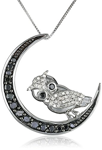 10k White Gold Black-and-White Diamond Owl Pendant Necklace (1/2 cttw), 18″