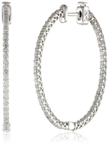 14kt White Gold Diamond Inside and Outside Lucida Set Oval Hoops, 2 Cttw (H-I Color, SI2-I1 Clarity)