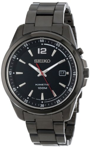"Seiko Men's SKA605 KINETIC ""Amazon Exclusive"" Black Ion-Plated Stainless Steel Watch"