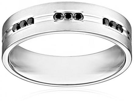 Men's 14K White Gold 6mm Comfort Fit Black Diamond Wedding Band