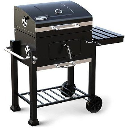 Kingsford 360-sq in Charcoal Grill, Foldable Side Shelf with Tool Hooks and Two Wheels, Black Paint