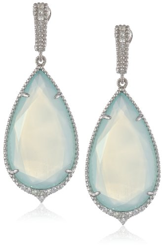 "Judith Ripka ""Arabesque"" Sterling Silver, Chalcedony, and White Sapphire Earrings"