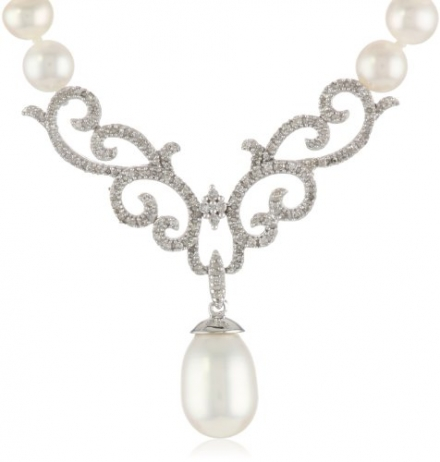10k White Gold Scroll Design Diamond and Freshwater Cultured Pearl Drop Necklace, 18″