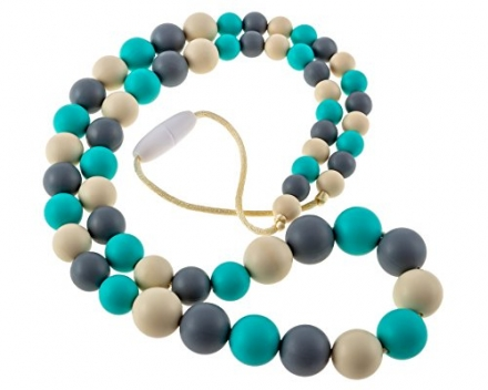 Chew-Choos 'Playdate' Silicone Teething Necklace – Modern Eco-friendly Baby Teether (Turquoise, Gray