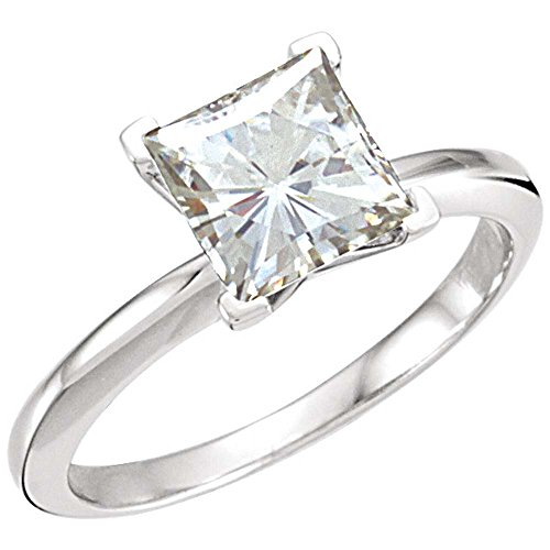 07.00 mm = 2 ct. Created Moissanite Solitaire Ring in 14k White Gold ( Size 6 )