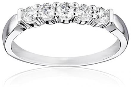 14k White Gold 5-Stone Diamond Anniversary Band (1/2 cttw, H-I Color, I2-I3 Clarity)