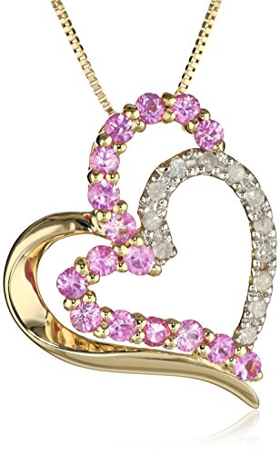 10k Yellow Gold Necklace with Pink Sapphire and Diamond Heart Pendant, 18″