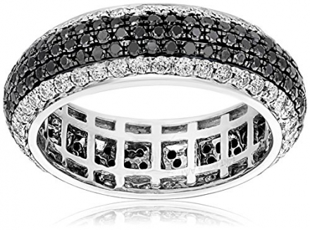 14k White Gold Black and White Diamond Micro Pave Eternity Ring (2.00 cttw, H-I Color, I1-I2 Clarity