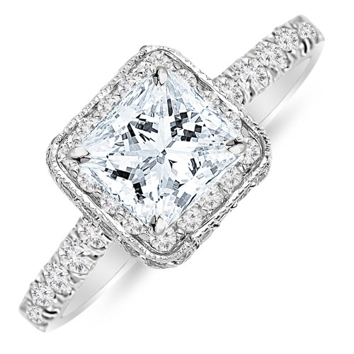 1.44 Carat Double Row Baguette and Round Halo Diamond Engagement Ring with a 0.74 Carat Princess Cut