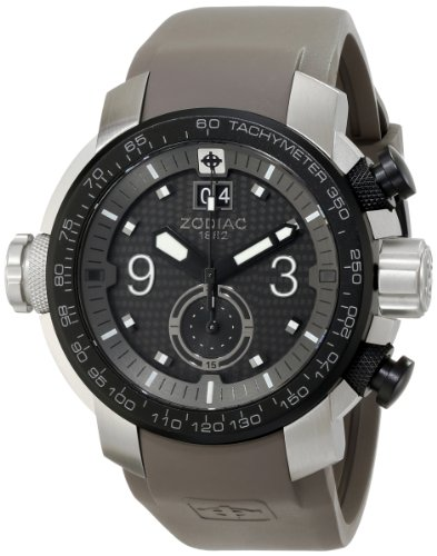"""Zodiac ZMX Men's ZO8525 """"Special Ops"""" Stainless Steel Watch With Gray Rubber Band"""