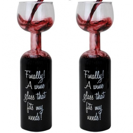 (Set of 2) Hilarious Wine Lovers Bottle w/Glass On Top – No Need To Refill