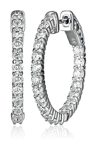 14kt White Gold Diamond Inside and Outside Shared-Prong Hoops, 2 Cttw (H-I Color, I1Clarity)