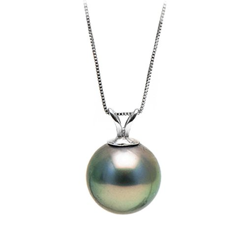 Black Tahitian Cultured Pearl Classic Solitaire Pendant,13.0-14.0mm,AAA,14K-WG Box Chain,Split Bale,